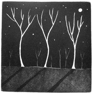 """Trees in the moonlight""  limited edition aquatint print"