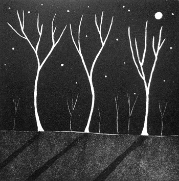 'Trees In The Moonlight' Aquatint $200 Framed / $100 Unframed