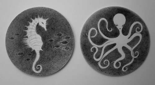 Sea Life Coasters by Jennifer Daltry (Sea Horse and Octopus)